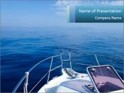 Blue sea boat PowerPoint Templates