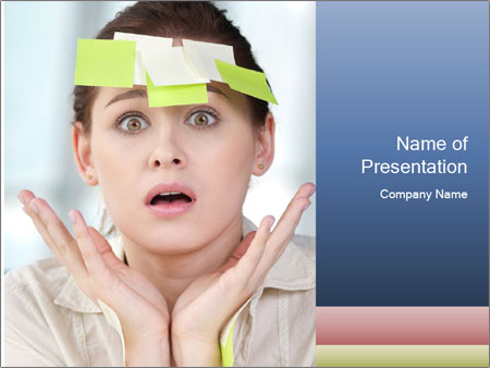Woman With Green Paper Sticker PowerPoint Templates