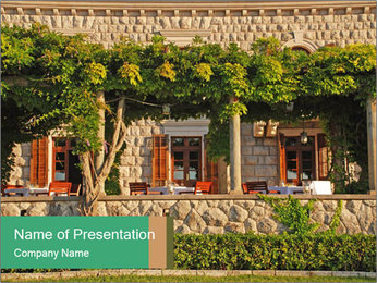 Beautiful view with outdoor restaurant PowerPoint Template - Slide 1