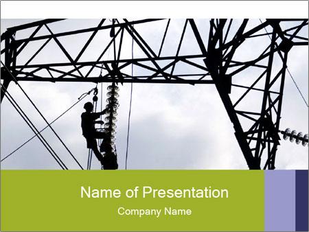 Repairing a power line PowerPoint Template