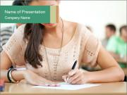 Student girl sitting for exam PowerPoint Template
