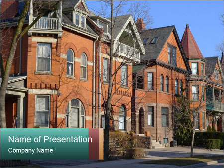 Victorian row of houses PowerPoint Template