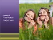 Two happy female friends PowerPoint Templates