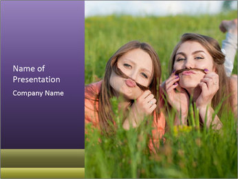 Two happy female friends PowerPoint Template - Slide 1