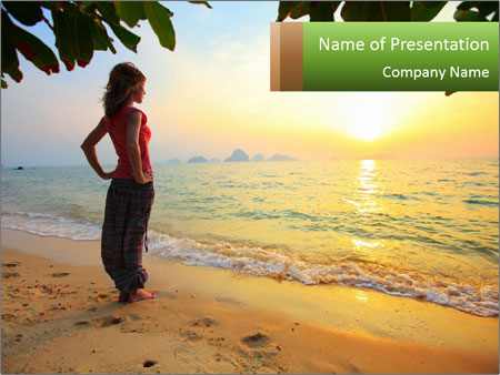 Young woman relaxing PowerPoint Template