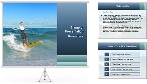 Young business person surfing PowerPoint Template