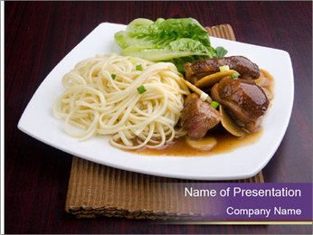 Chinese Noodles Served With Meat PowerPoint Template - Slide 1