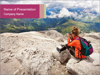 Cute girl hiking in the alps PowerPoint Template