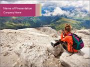 Cute girl hiking in the alps PowerPoint Templates