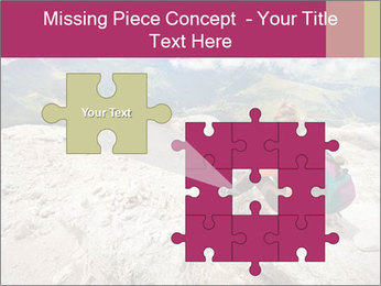 Cute girl hiking in the alps PowerPoint Template - Slide 45
