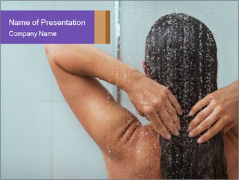 Woman washing long hair PowerPoint Template