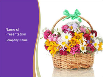 Beautiful bouquet of bright wildflowers PowerPoint Template