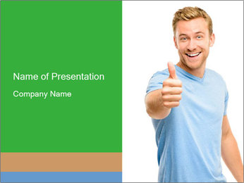 Happy man giving thumbs up sign PowerPoint Template - Slide 1