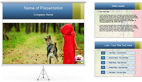 The girl with a wolf PowerPoint Template