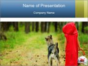 The girl with a wolf PowerPoint Templates