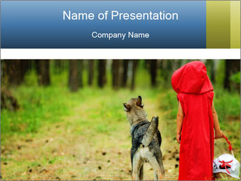 The girl with a wolf PowerPoint Template - Slide 1