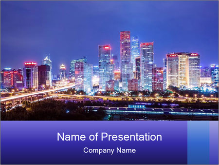 Beijing after sunset-night scene PowerPoint Template
