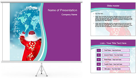 Santa Claus preparing for Christmas PowerPoint Template