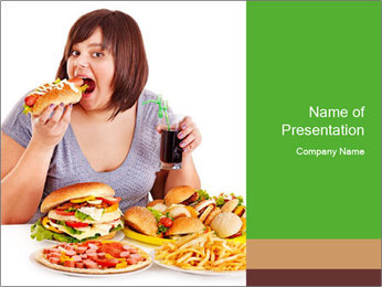 Overweight woman eating PowerPoint Template