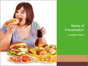 Overweight woman eating PowerPoint Templates
