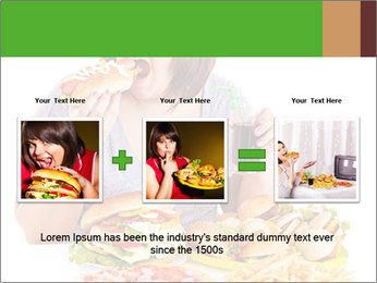 Overweight woman eating PowerPoint Template - Slide 22