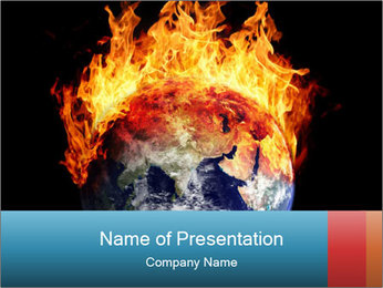 Burning earth globe PowerPoint Template - Slide 1