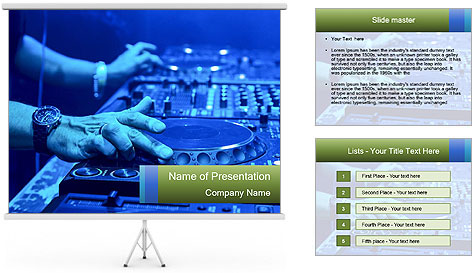 Dj mixes the track PowerPoint Template