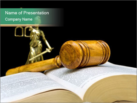 Gavel, law book PowerPoint Template