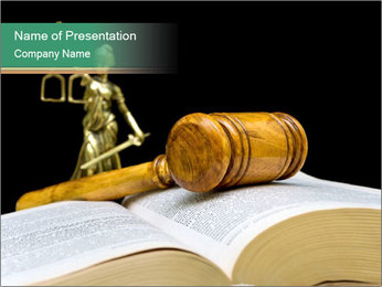 Gavel, law book PowerPoint Template - Slide 1