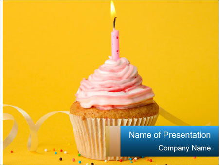 Tasty birthday cupcake PowerPoint Template