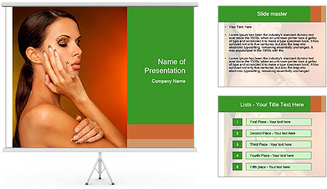 Young beautiful tanned woman PowerPoint Template