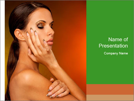 Young beautiful tanned woman PowerPoint Templates