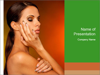 Young beautiful tanned woman PowerPoint Template - Slide 1