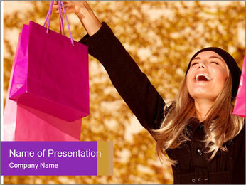 Attractive woman expressing joy of her new purchase PowerPoint Template - Slide 1