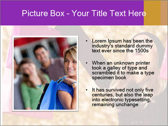Attractive woman expressing joy of her new purchase PowerPoint Template - Slide 13
