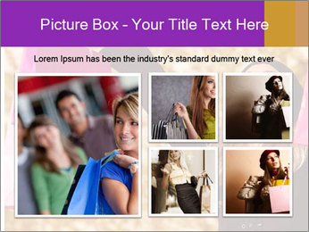 Attractive woman expressing joy of her new purchase PowerPoint Template - Slide 19
