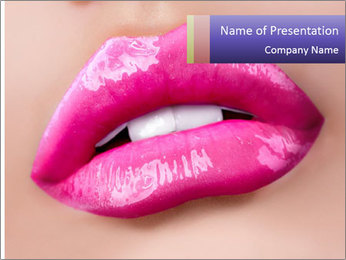Glossy Lips PowerPoint Template - Slide 1