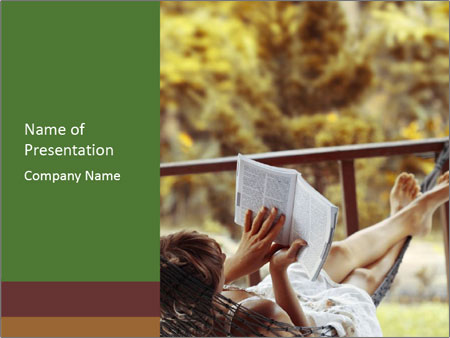 Woman lying in a hammock PowerPoint Template