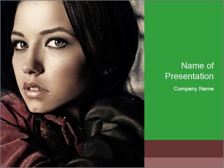 Mysterious portrait of a beautiful brunette PowerPoint Templates