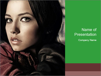 Mysterious portrait of a beautiful brunette PowerPoint Template