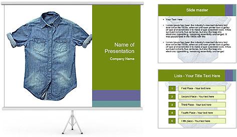 Blue jean shirt PowerPoint Template