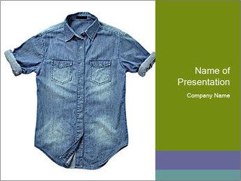Blue jean shirt PowerPoint Template - Slide 1
