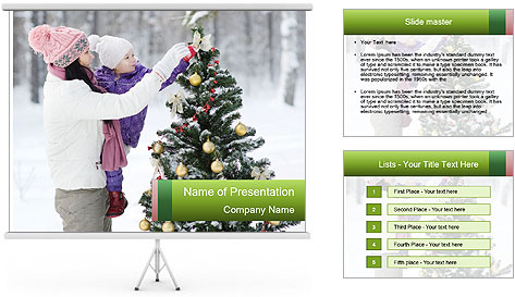 Mother and the daughter decorate PowerPoint Template