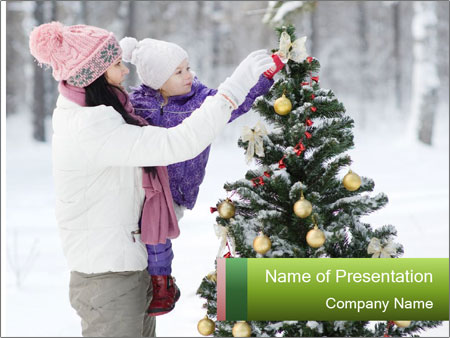 Mother and the daughter decorate PowerPoint Templates