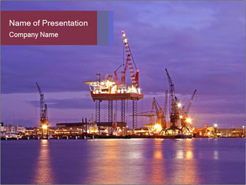 Derrick at night PowerPoint Template