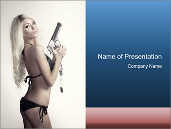 Beautiful slim sexy blond PowerPoint Template - Slide 1