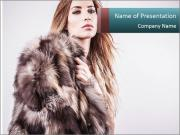 Attractive girl in a fur coat PowerPoint Templates