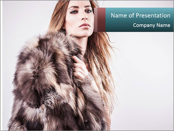 Attractive girl in a fur coat PowerPoint Template - Slide 1