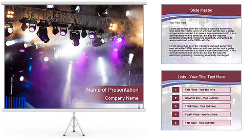 Many spotlights PowerPoint Template