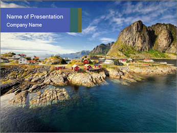 Scenic fjord on Lofoten islands PowerPoint Template - Slide 1